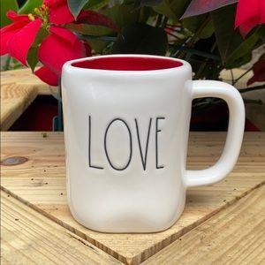 New Rae Dunn Valentines LOVE Coffee Mug Red Inside